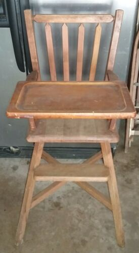 VINTAGE ANTIQUE WOODEN HIGH CHAIR LEHMAN YOUNGSTER FURNITURE