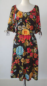 NIEVES LAVI Silk Jersey Floral Print Dress Wide Collar Draped - 4