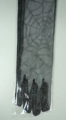 Halloween Costume Gloves Black Long Spider Web Witch Vampire Closed Finger NIP - Long Fingered Gloves Halloween