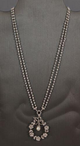 Antique Platinum 109 Diamonds Floral Wreath Pendant Double Pearl Necklace