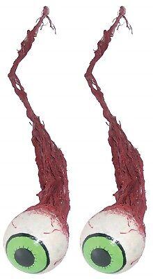 Set of 2 Hanging Gross Rotten Eyeball with Veins Gruesome Halloween Prop Decor