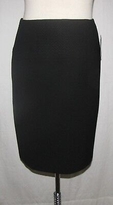 Strenesse Blk Wool Stretch w/Jacquard Chevron Band Knee Length Straight Skirt 10
