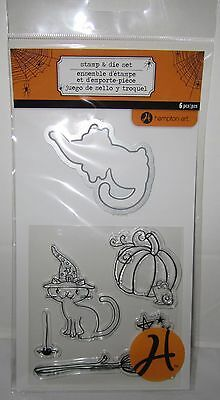 Hampton Art Stamp & and Die Set Cute Cat Halloween Pumpkin Broom Mouse Witch Hat](Halloween Pumpkin Art And Craft)