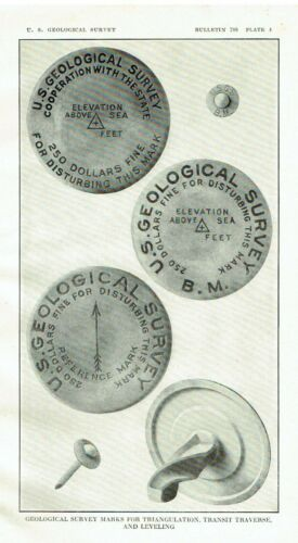 1926 United States Geological Survey Photograph Survey of Metal Marks Markers