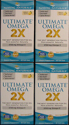 FOUR Nordic Naturals Ultimate Omega 2X Next Generation Fish Oil 60 240 Total NEW