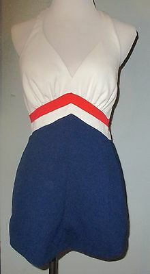 Vintage Sears 1960's Red White and Blue Swim Suit Dress Harness Back USA 14