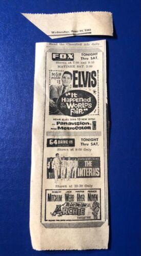"1963 Elvis Presley ""It Happened at the World's Fair"" movie print ad 6.5x2.5"""