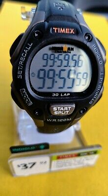 Timex 34MM Ironman Classic 30 Lap Watch Black Resin Indiglo T5E961 Unisex NWT!