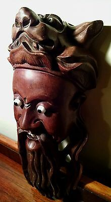 ANTIQU CHINESE ROSEWOOD MASK HAND CARVED GLASS EYES FOO DOG OPENMOUTH BONE TEETH