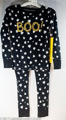 Halloween Girl's Pajamas Boo Ghosts Gold Black White Cat & Jack NWT Snug Fit