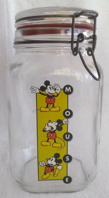 Vintage Walt Disney Mickey Mouse Glass Jar Locking Lid Kitchen Home Decor