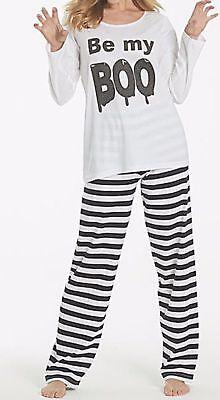 Pretty Secrets Plus Size Be My Boo Pyjama Set Top & Striped Long Bottoms PJ Set