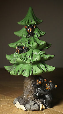 Black Bear Cubs Pine Tree Figurine Camping Rustic Lodge Log Cabin Home Decor -