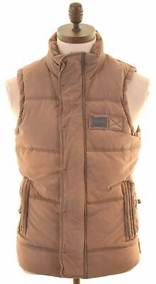 SUPERDRY Mens Padded Gilet Size 36 Small Brown Cotton Academy HD02