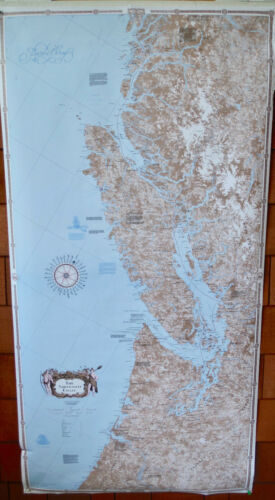 CCOLLECTIBLE 1988 PACIFIC NORTHWEST COAST LARGE WALL MAP, PUGET SOUND CANADA EUC