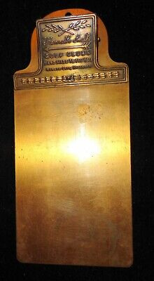 """Vintage """"Kenneth Smith"""" Golf Clubs All Brass Advertising Clip Board"""