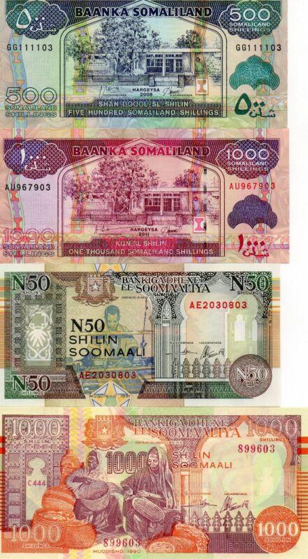 SOMALIA SOMALILAND Africa lot of 4 UNC banknotes 1990-2011