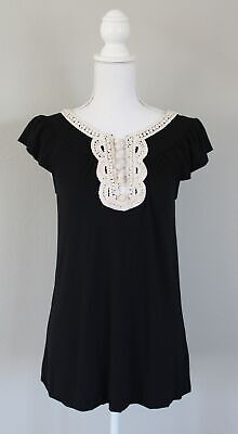 Anthropologie C KEER Vintage Crochet Trim Jersey Knit Top, Size Small S