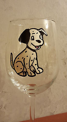 Hand Painted Dalmation Dog Wine Glass