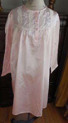 NWOT PINK w/LACE & EMBROIDERY SECRET FANTASIES WOMEN'S LONG SLEEVE NIGHTGOWN L - Fantasies Lace Nightgown