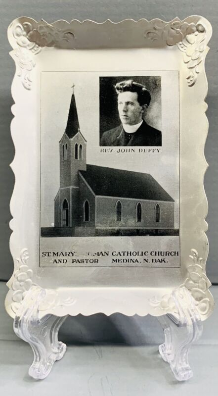 ANTIQUE MEDINA NORTH DAKOTA ST MARYS ROMAN CATHOLIC CHURCH ADVERTISING ASHTRAY