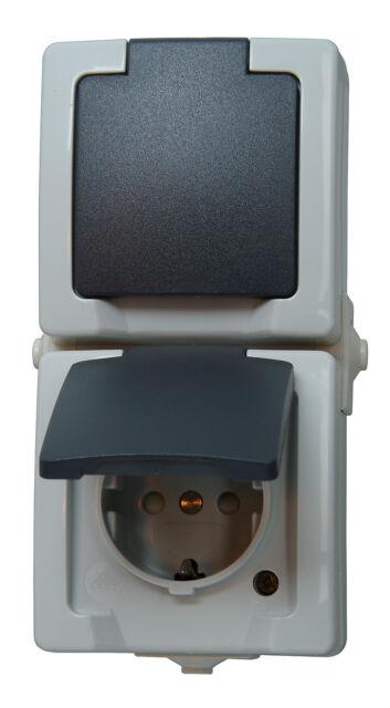 Kopp Schutzkontakt-Steckdose 2-fach mit Deckel IP 44 grau Aufputz-Feuchtraum