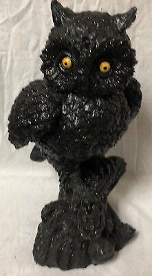 "Bethany Lowe THANKSGIVING~HALLOWEEN 11"" BLACK OWL ON STUMP ~ LO8560 - GLITTER"