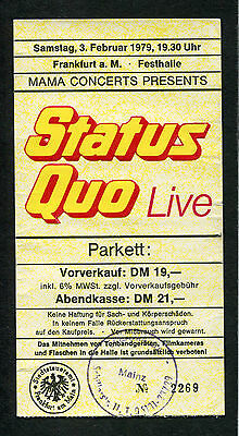 1981 Status Quo Concert Ticket Stub Frankfurt Germany If You Cant Stand The Heat