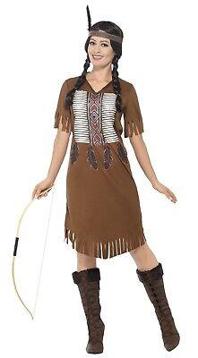 Damen Indianer Krieger Indianer Squaw Kostüm Kleid Outfit UK 8-18