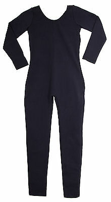 Bodysuit / Unitard Cotton Long Sleeve Childs Black NEW - Black Cotton Unitard
