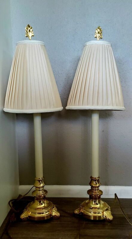Vintage Pair Stiffel Brass Candlestick Buffet Lamps With Shades
