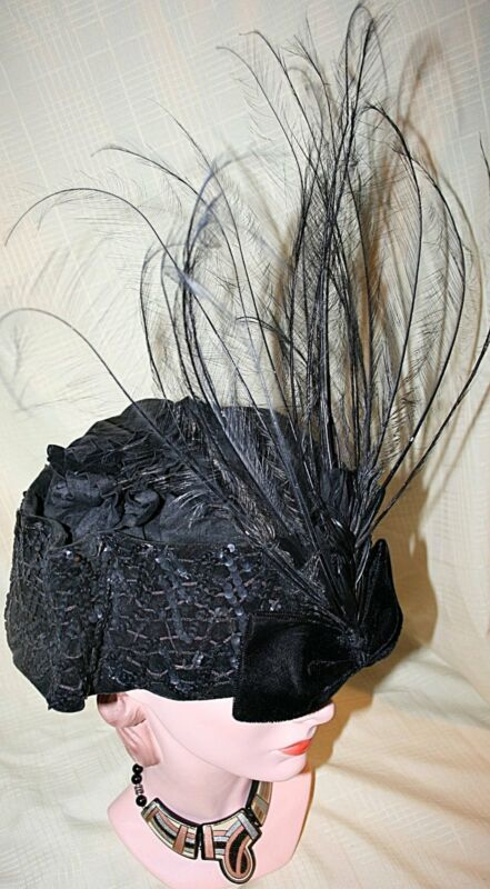 Elegant 1910 Edwardian Toque Hat w/ Ostrich Feathers Sequins & Hat Pin Rare
