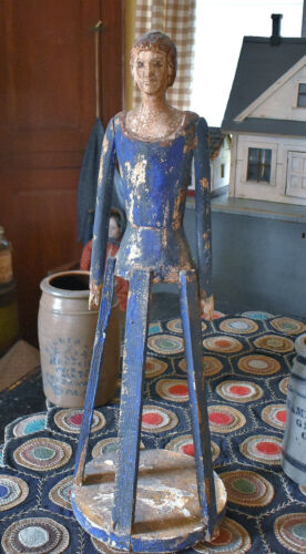 """Vintage Carved Wood Painted Santos Cage Doll 28"""" Tall"""