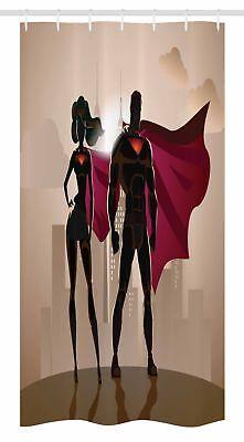 Superhero Stall Shower Curtain City Hero Hot Couple Print for Bathroom - Superhero Shower Curtain