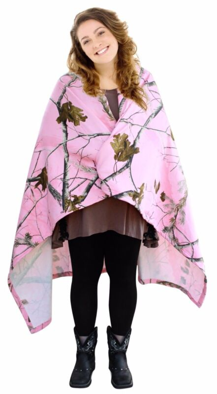 Pink Realtree Throw Blanket Lightweight Jersey-Fleece Sweatshirt Feel Camo Wrap