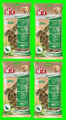 8in1 Minis Conigli & Herbs Cani Snack 4 Borse a100 tg. Cibo per con