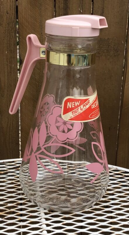 NOS Vintage E-Z Por Glass Juice Pitcher Carafe pink Flowers Mid Century