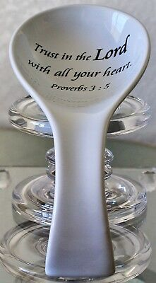 COVENTRY DAILY BLESSINGS SPOON REST PROVERBS 3:5 PORCELAIN WHITE BLACK NEW