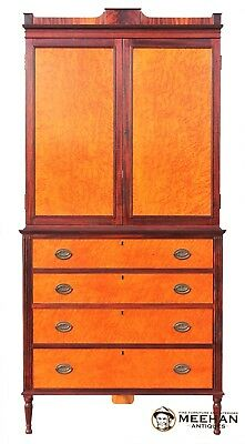 - Hand Crafted Federal Linen Press Entertainment Center Corner Cabinet