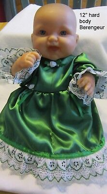 """Green Satin Fancy Dress/bloomers, fits 12-14"""" h/b and s/b Berenguer babies"""