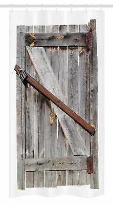 "Rustic Stall Shower Curtain Aged Wooden Barn Door Print for Bathroom 36""x72"""