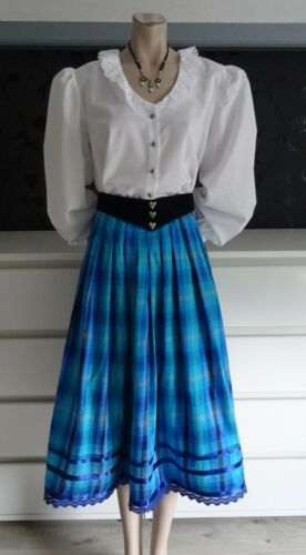 Dirndl Skirt Silk German Bavarian Blouse Belt Outfit 8