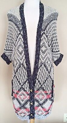 CAbi Provence Prolonged Cardigan Sweater Style #202 Short Sleeves Black Multi M VGUC