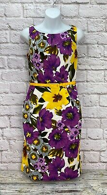 Nine West Dress Sleeveless Midi A-Line Floral Partial Lining Size 4  (No Belt)