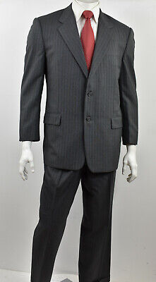 HICKEY FREEMAN Heathered Gray Striped Wool Classic Fit BOARDROOM Suit 42S