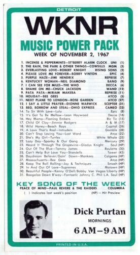 1967 Radio Survey WKNR KEENER 13 AM Detroit NOV 2 Top 31 Dick Purtan ORIGINAL