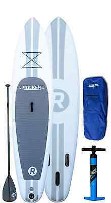 """iRocker Paddle Boards 10' (6"""" Thick) Inflatable SUP Package (White)"""