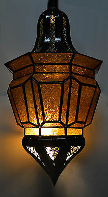 Moroccan Glass Lantern Lamp Indoor Outdoor Electric Candlelit Decorative XL Gold