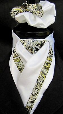 Ready Tied White Faux Silk with Black & Gold Paisley Riding Stock & Scrunchie