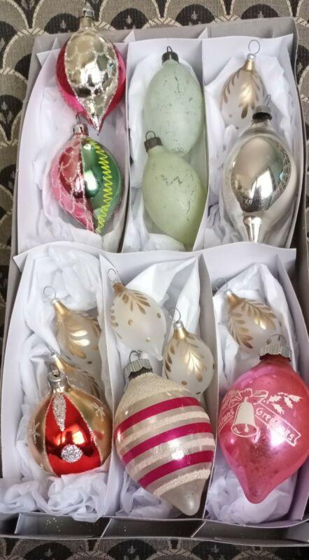 VINTAGE 14 CHRISTMAS ORNAMENTS LOT GLASS MERCURY 2 SHINY BRITE TEARDROP